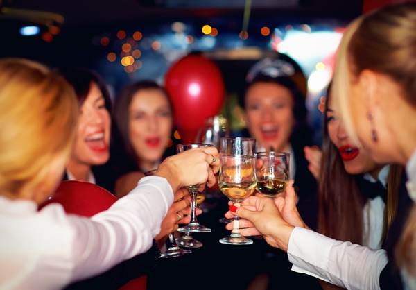 happy hen party in limo